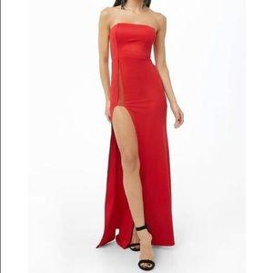 Red High Slit Dress